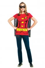 Robin Shirt, Cape & Mask Set Superhero Batman Fancy Dress