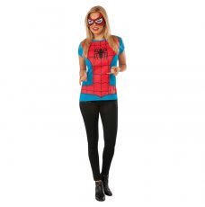 Womens Spider Girl Tshirt Mask Ladies Super Hero Justice League