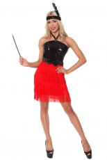 1920s Flapper Red Chicago Gangster Fancy Dress Costume