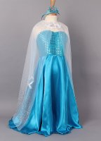 Girls Frozen Queen Elsa Costume Party Birthday Dress With Cape