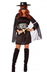 Ladies Zorro Fancy Dress Costume