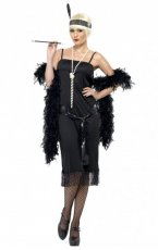 Black Flapper Women 1920 Roaring 20s Plus Costume