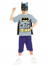 Batman T-Shirt Mask Cape Kids Superhero Fancy Dress Costume
