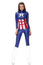Ladies American Captain Hero Fancy Dress Costume