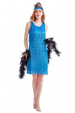Ladies 1920s Roaring 20s Flapper Costume Sequin Ganster Fancy