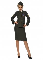 Womens Wartime Officer Army Military Uniform Costume Outfit