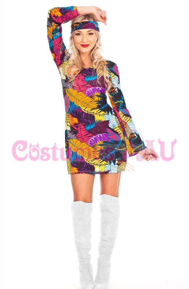 Ladies 1960s 60s Retro Hippie Costume Disco Girl Dancing Groovy Fancy Dress