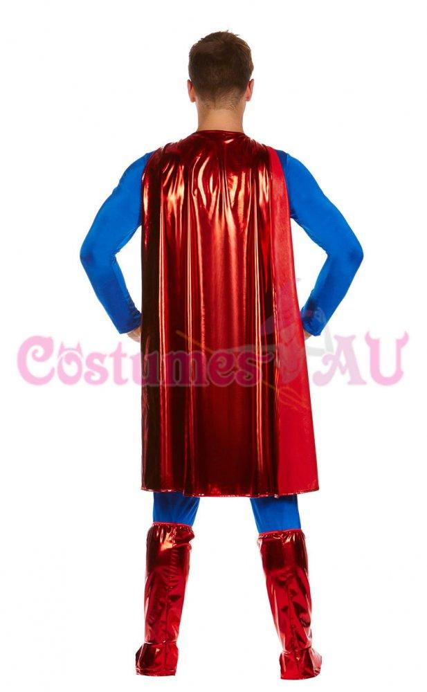 Mens Superman Costume Superhero Adult Hero Halloween Outfits S M L XL