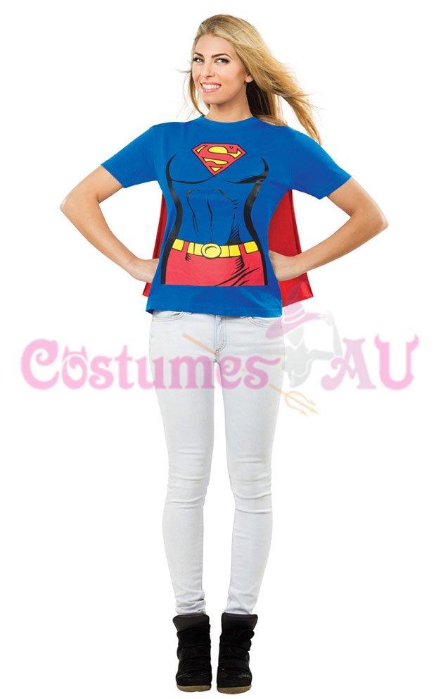 Licensed Superhero Supergirl Tshirt Ladies Fancy Dress Costume