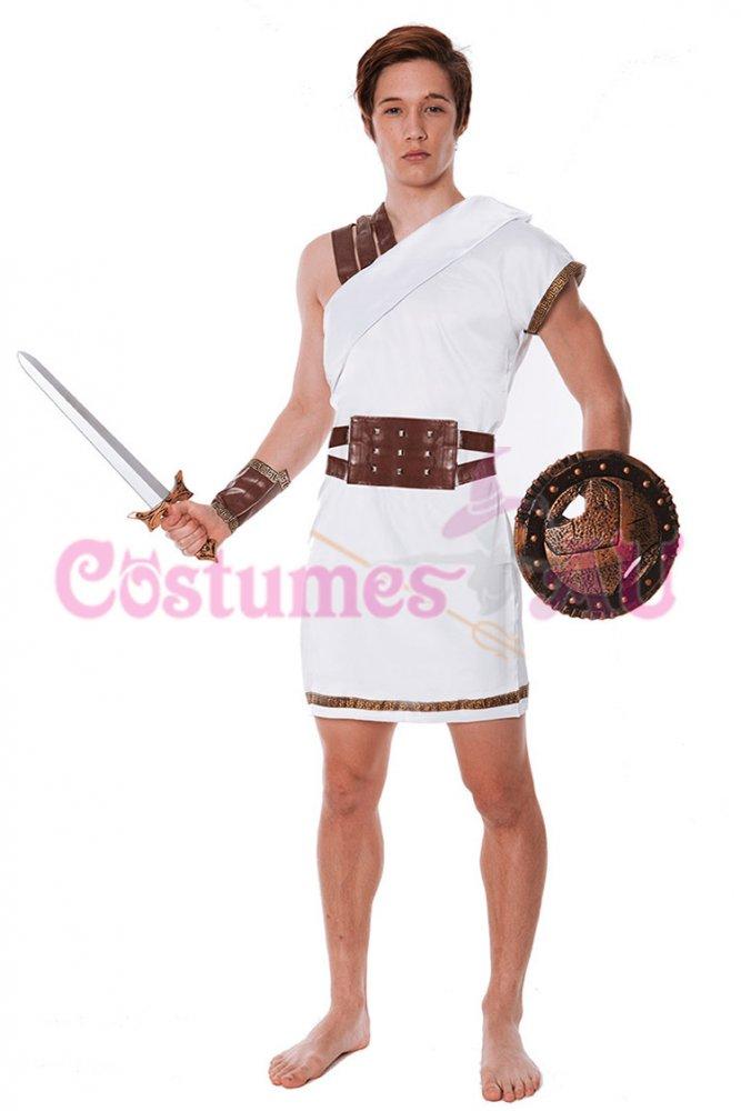 Roman greek warrior gladiator spartan toga soldier costume fancy dress