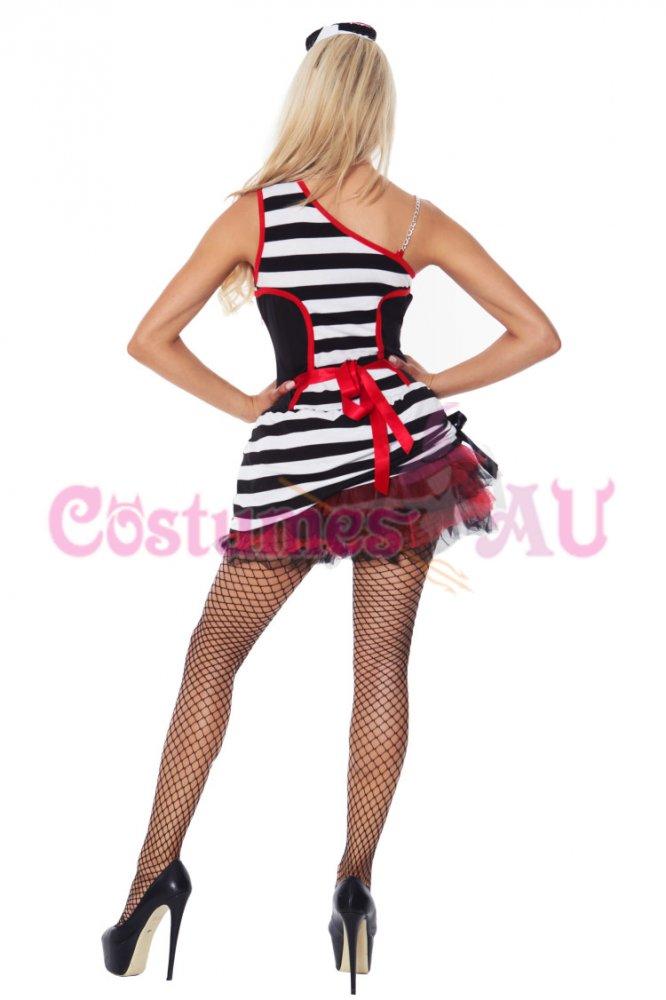 Ladies Jail Prisoner Costume Prison Fancy Dress UP Showgirls Party Full Outfit