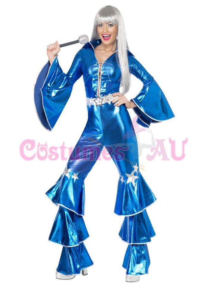 Ladies Dancing Queen 1970s 70s Costume Retro Hippy Hippie Jumpsuit Fancy Dress