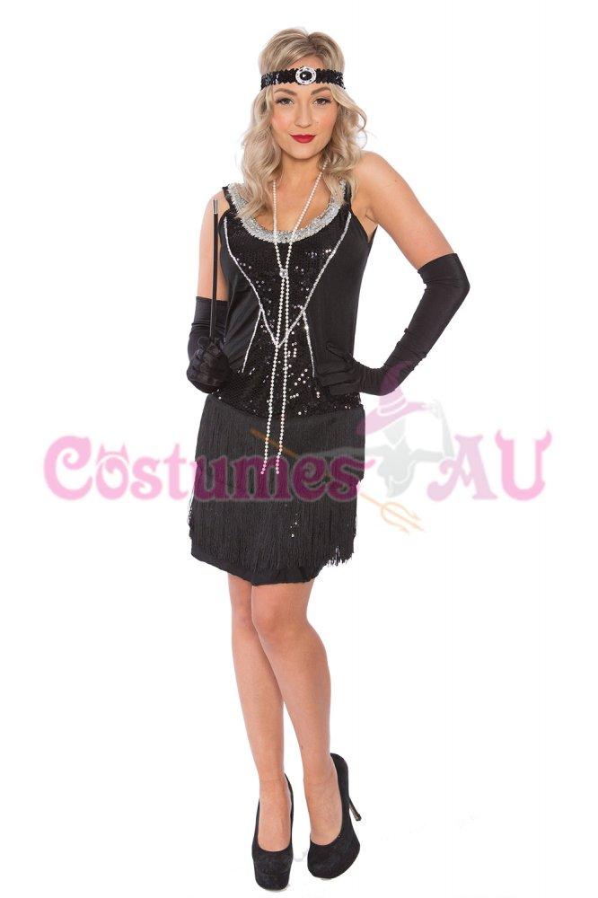 Deluxe Ladies 1920s 20s Flapper Sequin Costume Ganster
