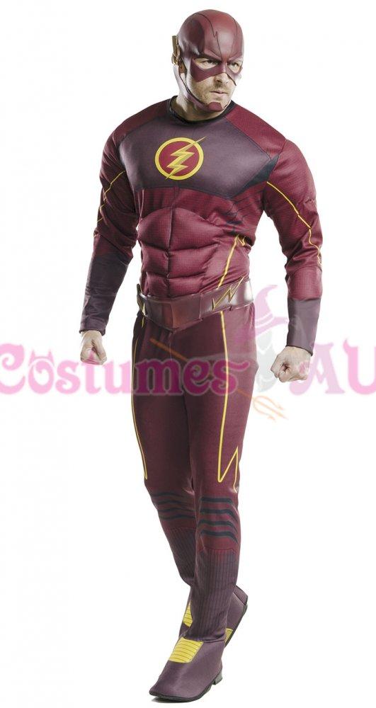 Deluxe The Flash DC Comics Justice League Superhero Muscle Fancy Dress Costume
