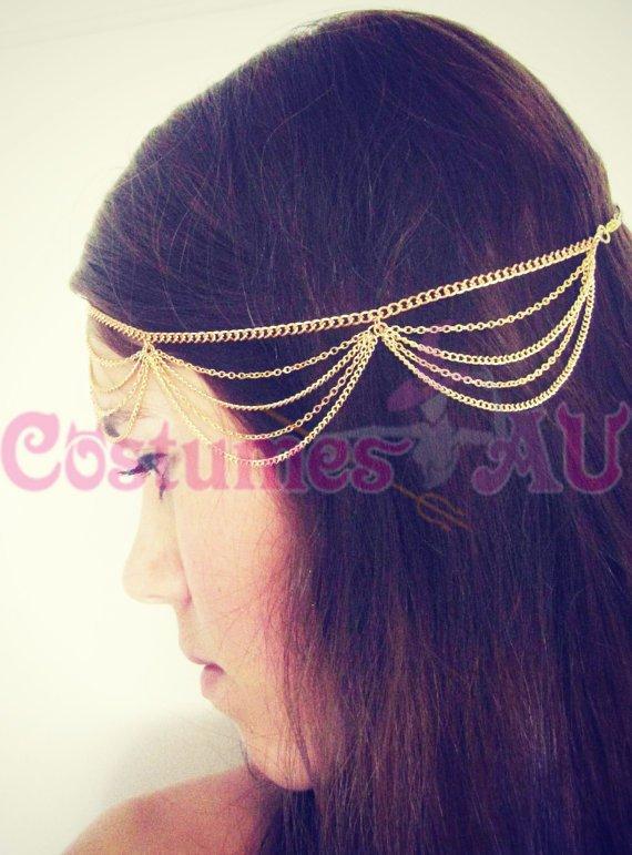Deco Vintage Headband 20s Flapper Chain Headpiece Gatsby Bride Red Boho Goddess