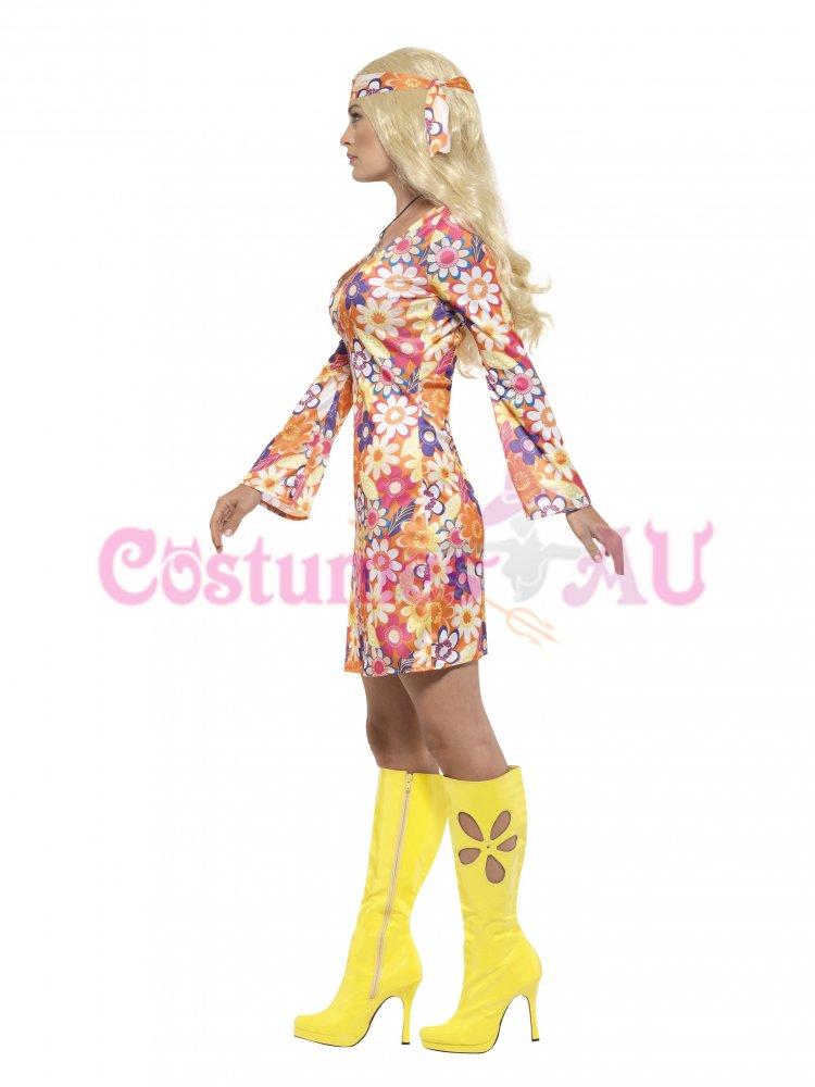 Ladies 60s Retro Go Go Girl Flower Print Costume for 60s Rock N Roll Fancy Dress