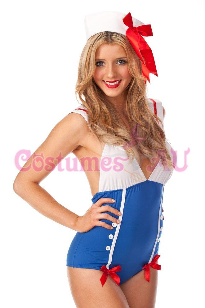 Ladies Sailor Uniform Navy Costume 50s Rockabilly Pin Up Fancy Dress Up /& Hat