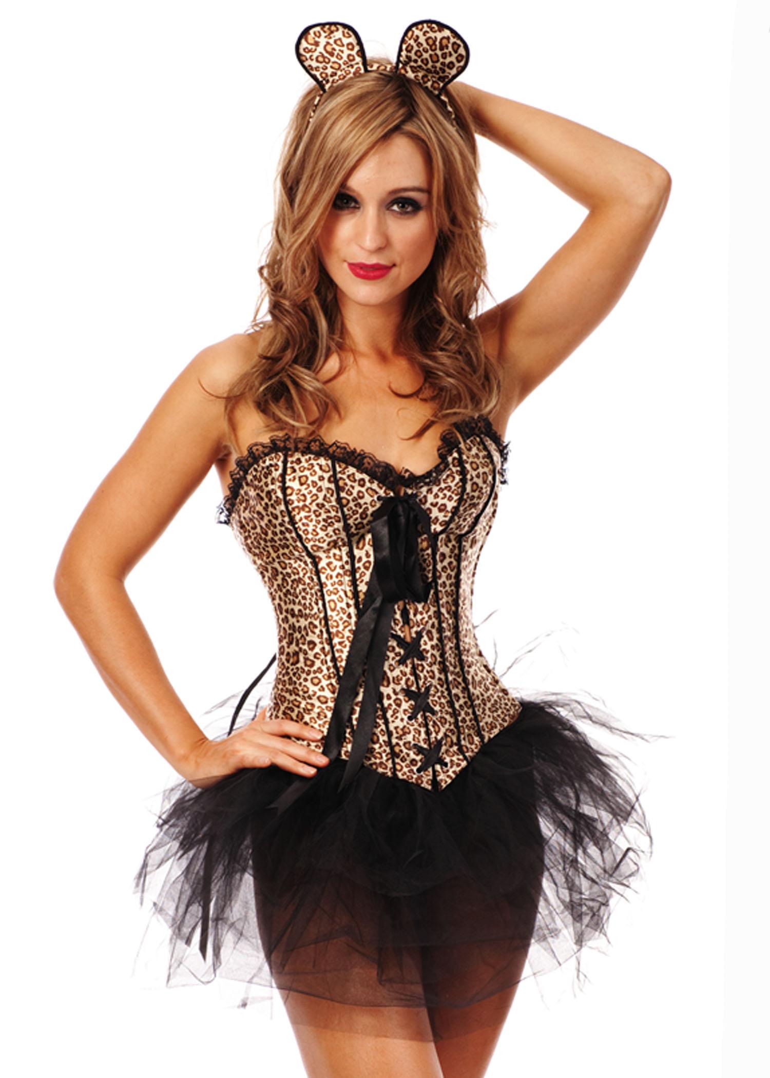 Ladies Cheshire Cat Costume Leopard Corset Fancy Dress UP Burlesque Tutu