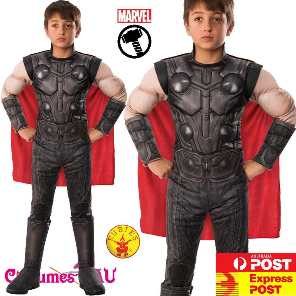 Kids Deluxe Muscle Black Panther Costume Superhero Cosplay Book Week Dress Up