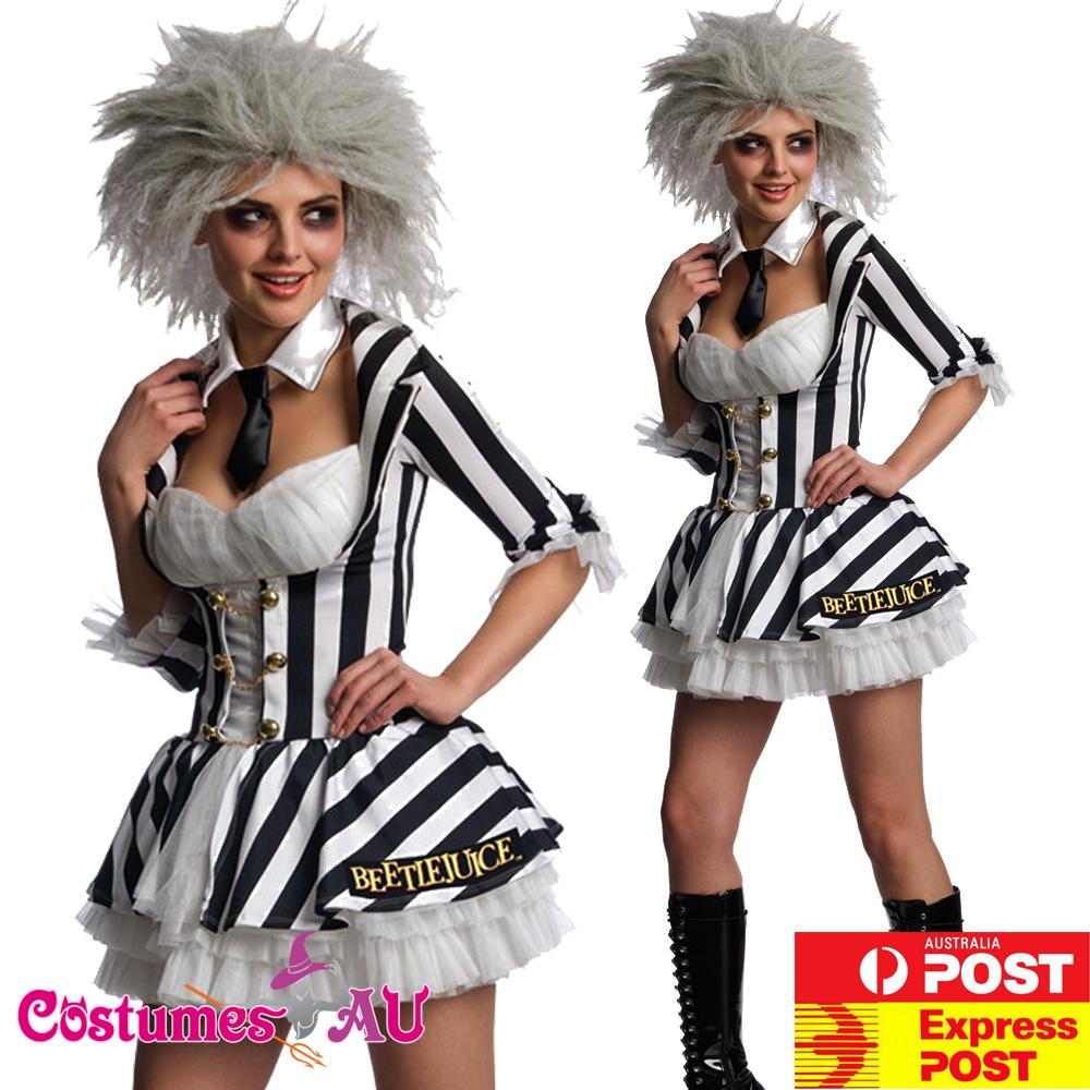 License Mrs Beetlejuice Costume Miss Beetlejuice Ladies Halloween Fancy Dress Ebay