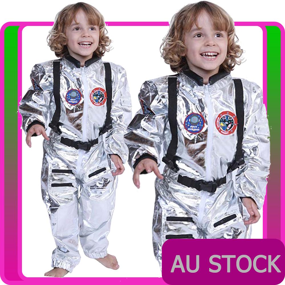 CK696 Astronaut Boys Girls Deluxe Space Man Fancy Dress Kids NASA Costume Outfit