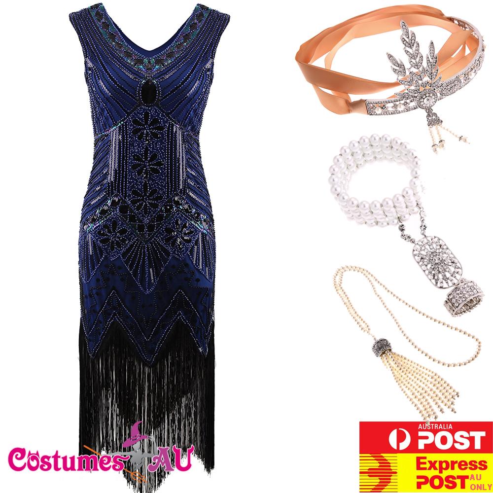 Deluxe Ladies 20s 1920s Roaring Flapper Costume Sequin Gatsby Blue Fancy Dress