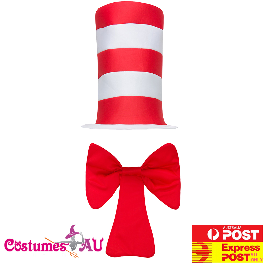 Adult Stripe Cat in the Hat Costume Adults Dr Seuss Set Bow Tie Gloves Book Week