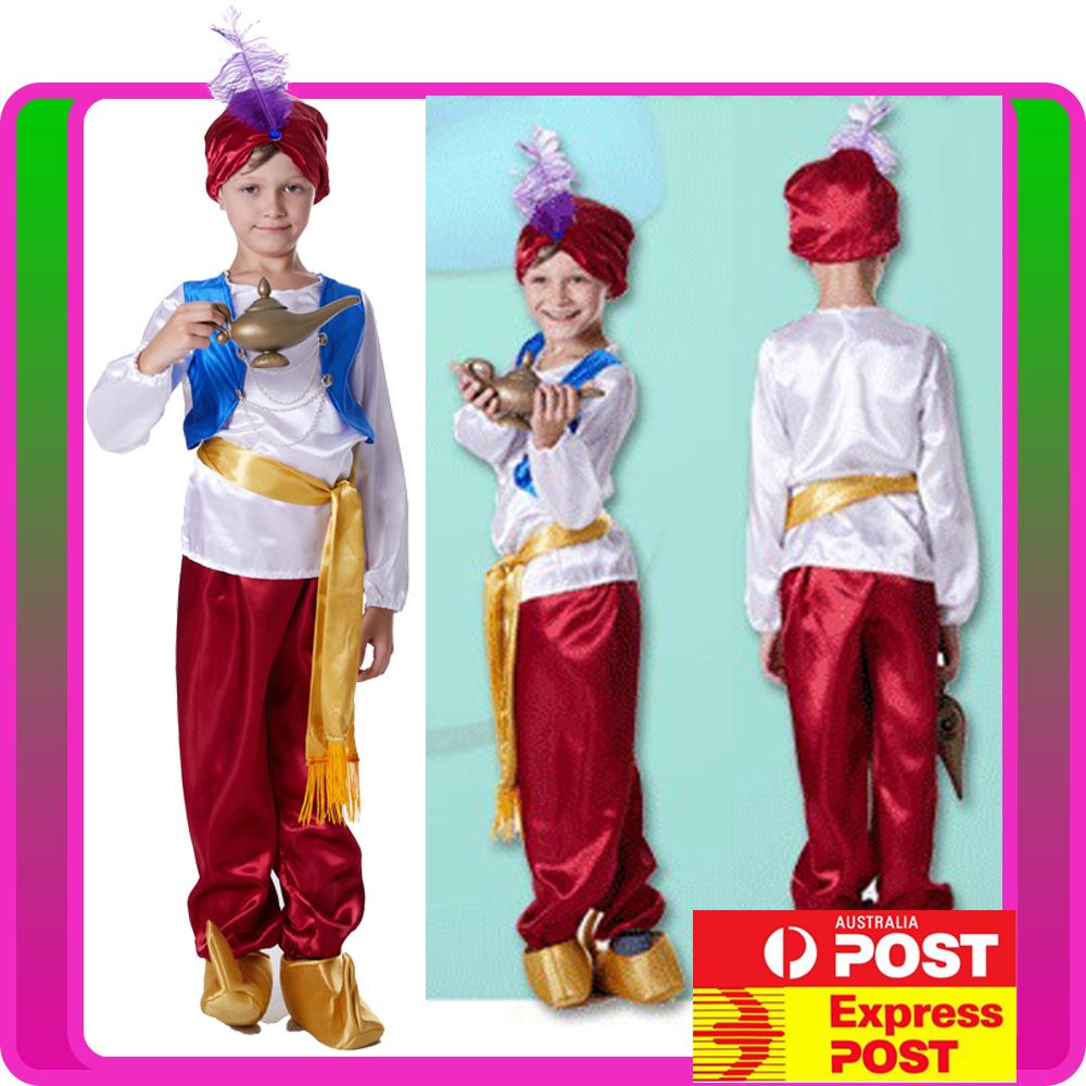 Details About Child Arabian Genie Aladdin Costume Arab Prince Kids Boys Red Book Week Disney