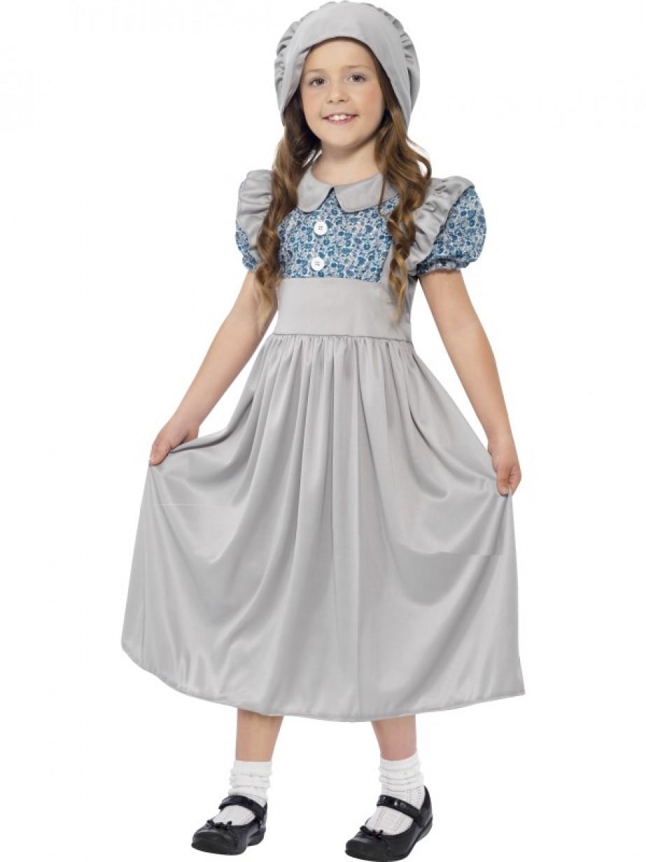 Girls Gothic School Girl Daughter Halloween Fancy Dress Costume /& Wig 4-12yrs