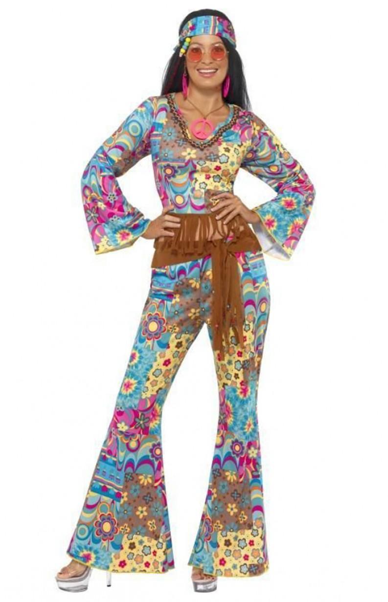 60s 70s Hippy Flower Power Hippie Chick Fancy Dress Costume Womens Ladies