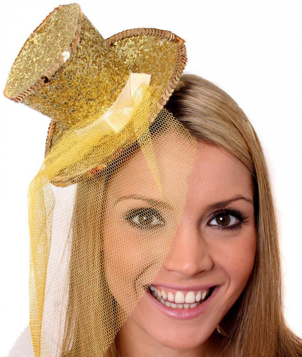 GREEN MINI GLITTER TOP HAT HEADBAND VEIL LADIES BURLESQUE PARTY FANCY DRESS