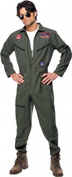 Retro Men Aviator Pilot Costume Top Gun 1980s 80s Military Costume Green Dress Licensed
