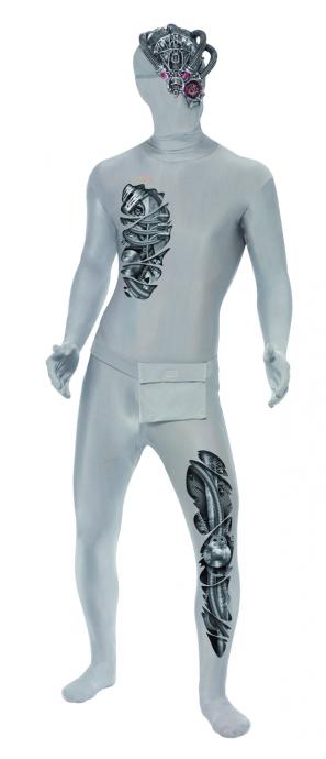 Robotic Second Skin Bodysuit Metal Mens Fancy Dress Halloween Robot Sci-Fi Costume
