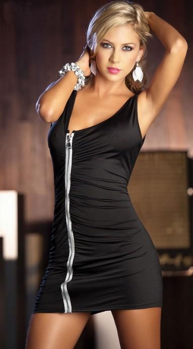 Black zipper mini dress