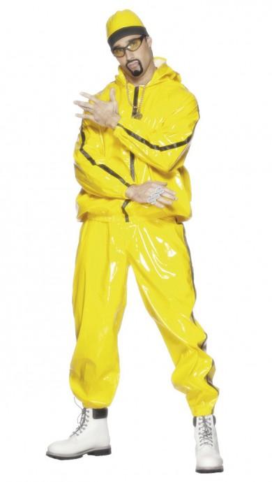 Licensed Mens Ali G Rapper Suit Yellow Tracksuit 80s Hip Hop Fancy Dress Costume