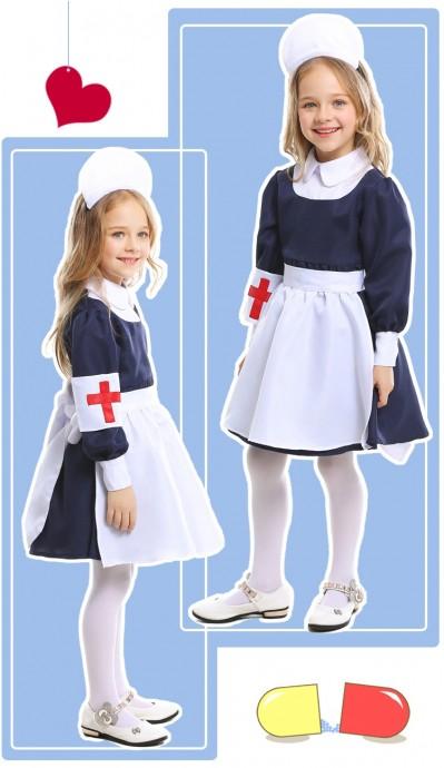 Kids Girls Victorian Maid Nurse Occupation Uniform Hospital Vet Costume