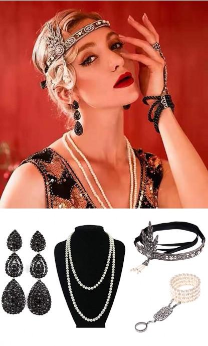Black Roaring 1920s Accessories Set