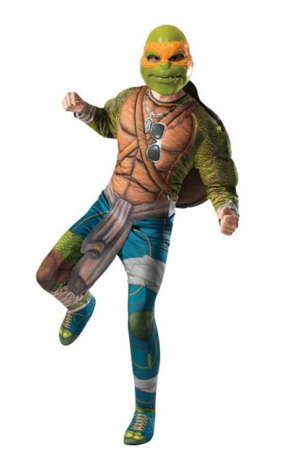 Movie/TV/Cartoon Costumes - TV Show TMNT Teenage Mutant Ninja Turtles Costume Licensed Rubie's Michelangelo Orange