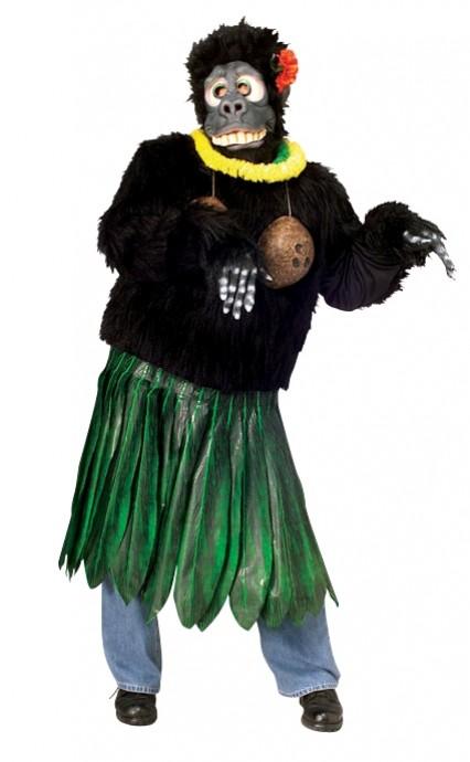 Adult Aloha Gorilla Costume Funny Animal Suit Hawaiian Luau Party Outfit & Mask