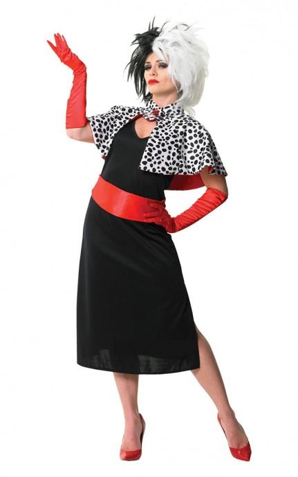 Womens Evil Madame Cruella De Ville 101 Dalmations Fancy Dress Costume �_Cigarette Holder + Wigs