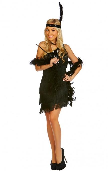 Ladies 20s 1920s Charleston Flapper Black Costume