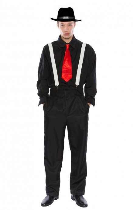 Mens 1920s Gangster Pinstripes Pimp Suit Halloween Fancy Dress Up Costume