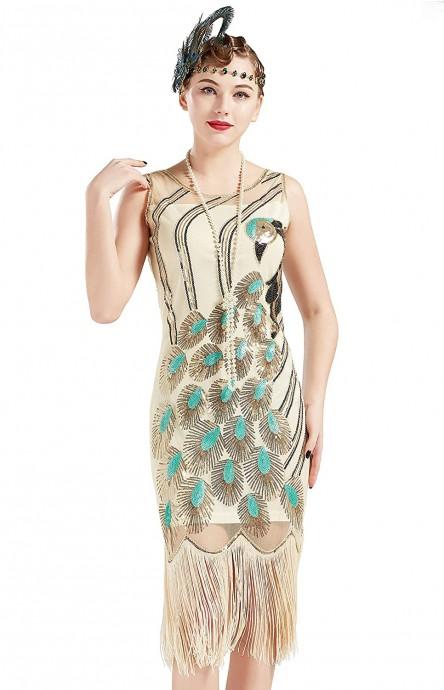 Beige 1920s flapper dress overall lx1052w