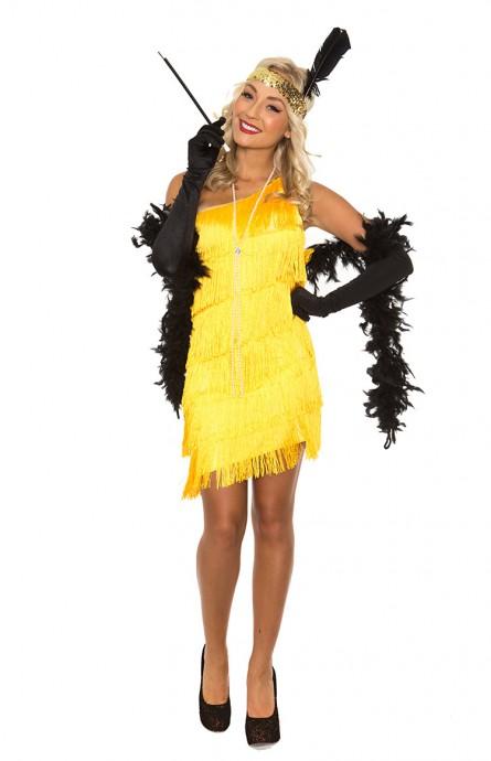 Yellow 20s 1920s Charleston Flapper Fancy Dress Costume Cigarette Holder Necklace Boa