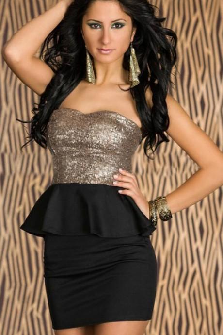 Black Sequins Strapless Club Wear
