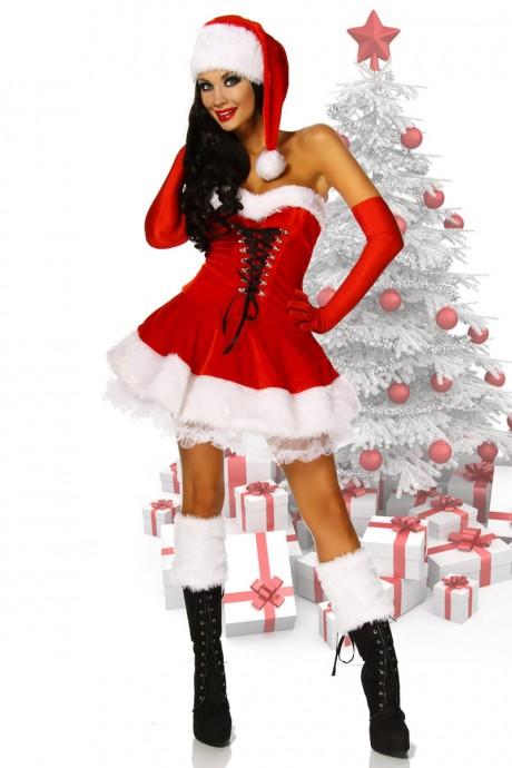 Ladies Santa Christmas Fancy Dress Costume