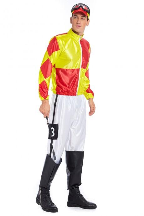 Full Set Red Yellow Jockey Horse Racing Rider Mens Uniform Fancy Dress Costume Outfit Hat