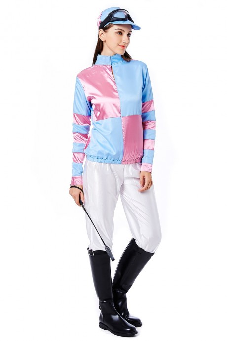 Womans Jockey Horse Racing Rider Ladies Uniform Fancy Dress Costume Outfit Hat Set