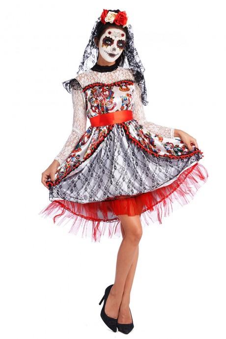 Ladies Day of the Dead Sugar Skull Halloween Fancy Dress Costume