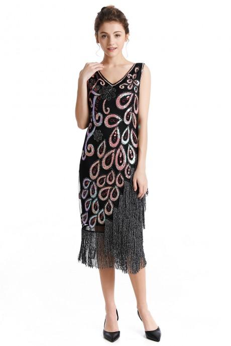 1920s Great Gatsby Charleston Party Costume Sequin Tassel Flapper Dress